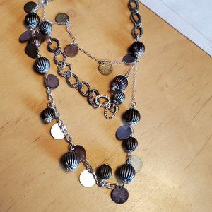 """16"""" Layered 3 Tone Necklace Metal Bead Style Round"""